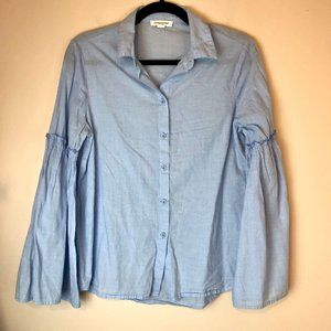 BeachLunchLounge   Bell Sleeve Button Down Blue Sm